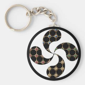gem wheel basic round button key ring