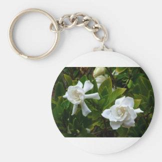 Geminate Gardenias Basic Round Button Key Ring
