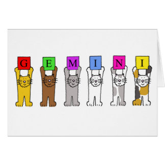 Gemini Birthday cartoon cats. Card
