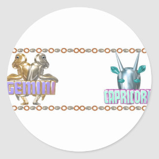 Gemini Capricorn zodiac by Valxart Round Sticker