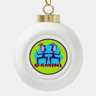 Gemini Cartoon Zodiac Astrology design Ceramic Ball Christmas Ornament