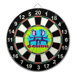 Gemini Cartoon Zodiac Astrology design Dartboard
