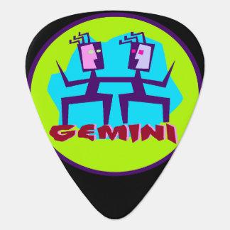 Gemini Cartoon Zodiac Astrology design Guitar Pick