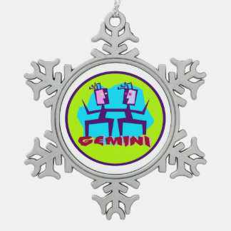 Gemini Cartoon Zodiac Astrology design Snowflake Pewter Christmas Ornament