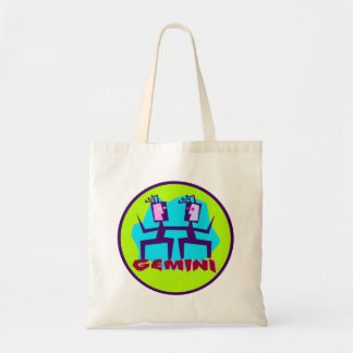 Gemini Cartoon Zodiac Astrology design Tote Bag