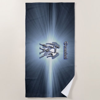 Gemini chrome symbol beach towel