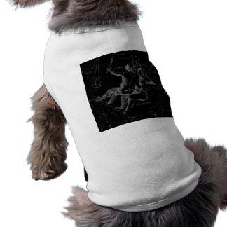 Gemini Constellation Hevelius 1690 on Black Sleeveless Dog Shirt