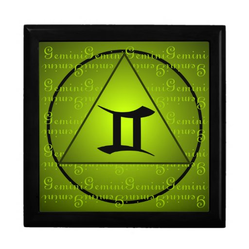 Gemini Curly Script Triangle Circle Green Gift Boxes