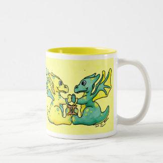 Gemini cute zodiac baby dragon mug