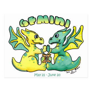 gemini cute zodiac little wings dragon postcard