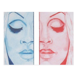 Gemini - Duality in Red and Blue - Original Art Postcard