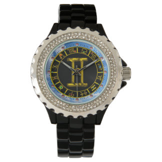 GEMINI GOLD ZODIAC BIRTHDAY JEWEL Astrology Chart Wristwatches