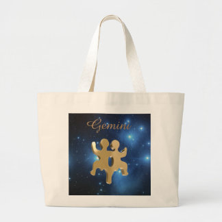 Gemini golden sign large tote bag