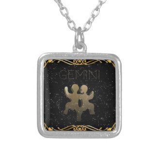 Gemini golden sign silver plated necklace