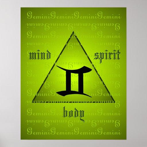 Gemini Holistic Triangle Mind Body Spirit Green Poster