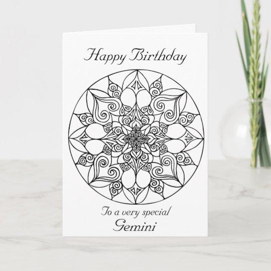 Gemini Mandala Colour Your Own Birthday Card Zazzle