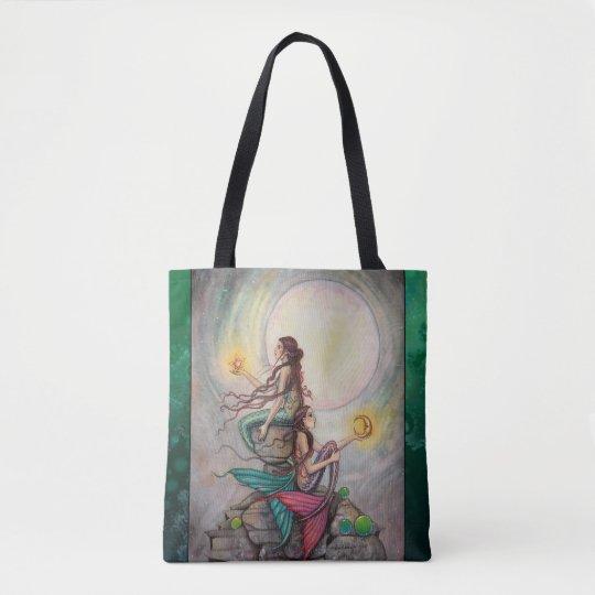 Gemini Mermaids Fantasy Art by Molly Harrison Tote