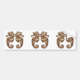 Gemini Metallic Tribal Seahorses Bumper Sticker