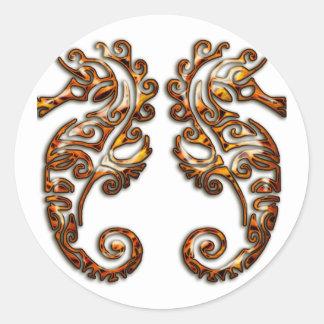 Gemini Metallic Tribal Seahorses Classic Round Sticker