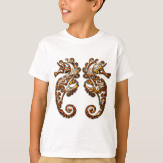 Gemini Metallic Tribal Seahorses T-Shirt