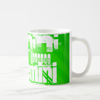 Gemini; Neon Green Stripes Coffee Mug