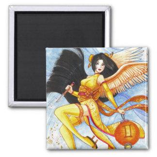 Gemini Square Magnet, Geisha Zodiac Fine Art Square Magnet