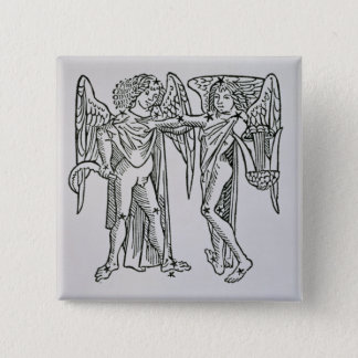 Gemini (the Twins) an illustration from the 'Poeti 15 Cm Square Badge
