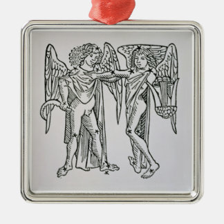Gemini (the Twins) an illustration from the 'Poeti Silver-Colored Square Decoration