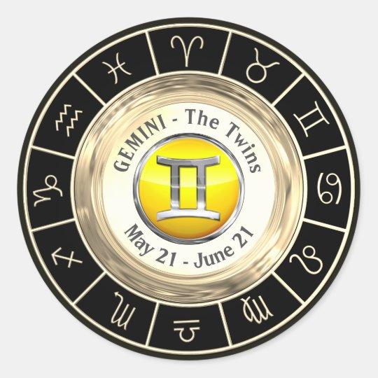 Gemini - The Twins Zodiac Sign Classic Round