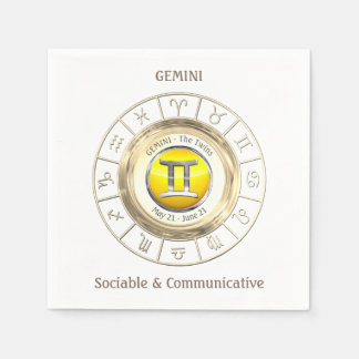 Gemini - The Twins Zodiac Sign Disposable Serviettes