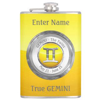 Gemini - The Twins Zodiac Sign Hip Flask
