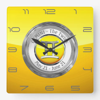 Gemini - The Twins Zodiac Sign Square Wall Clock