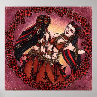 Gemini Tribal Original Belly Dance Art Poster