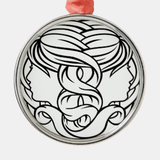 Gemini Twins Astrology Horoscope Zodiac Sign Silver-Colored Round Decoration
