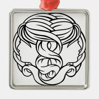 Gemini Twins Astrology Horoscope Zodiac Sign Silver-Colored Square Decoration