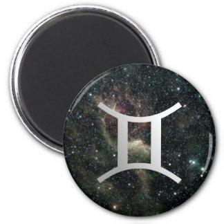 Gemini Twins Zodiac Star Sign Universe 6 Cm Round Magnet