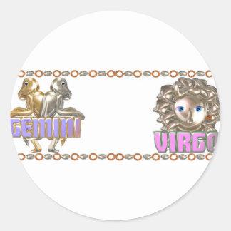 Gemini Virgo zodiac Round Stickers