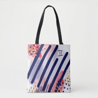 Gemini Zodiac Abstract Watercolour Tote Bag