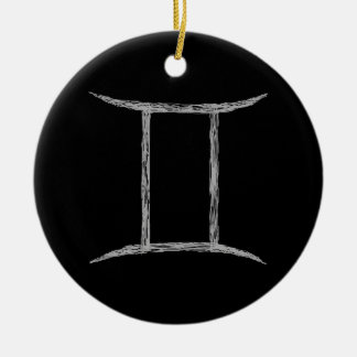 Gemini. Zodiac Astrology Sign. Black. Christmas Ornament