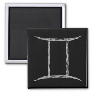 Gemini. Zodiac Astrology Sign. Black. Magnet