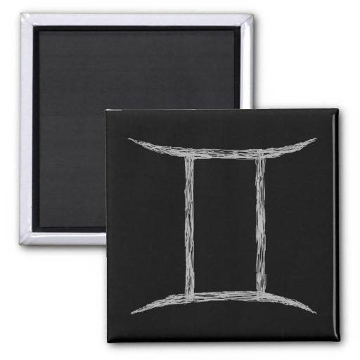 Gemini. Zodiac Astrology Sign. Black. Refrigerator Magnet