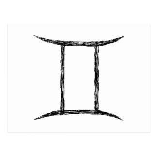 Gemini. Zodiac Astrology Sign. Black. Postcard