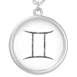 Gemini. Zodiac Astrology Sign. Black. Silver Plated Necklace