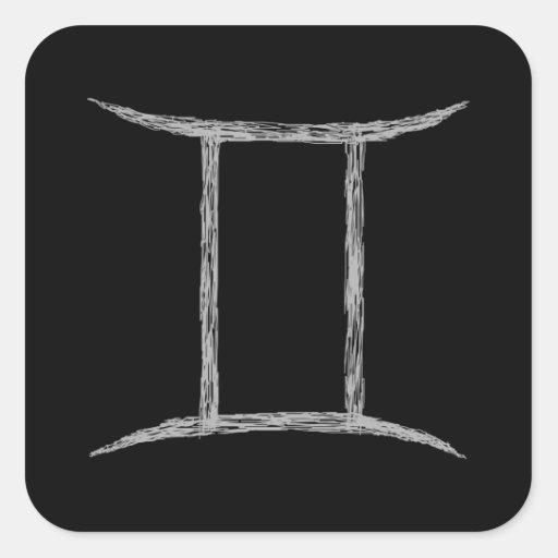 Gemini. Zodiac Astrology Sign. Black. Sticker