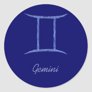 Gemini. Zodiac Astrology Sign. Classic Round Sticker