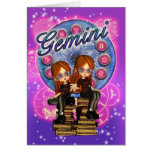 Gemini Zodiac Cute Card With Twin Girls On Old Boo