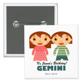 Gemini Zodiac for kids 15 Cm Square Badge