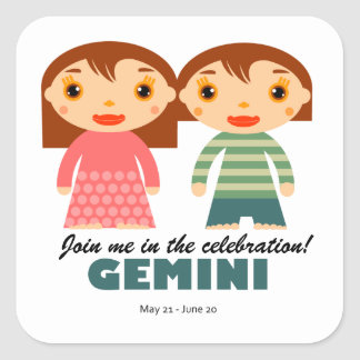 Gemini Zodiac for kids Square Sticker
