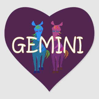 Gemini zodiac heart sticker