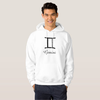 Gemini Zodiac Horoscope Sign Gray & White Hoodie